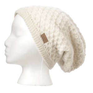 Slouchy knit toque (Honeycomb) by Ark Imports in white colour on Rosette Fair Trade