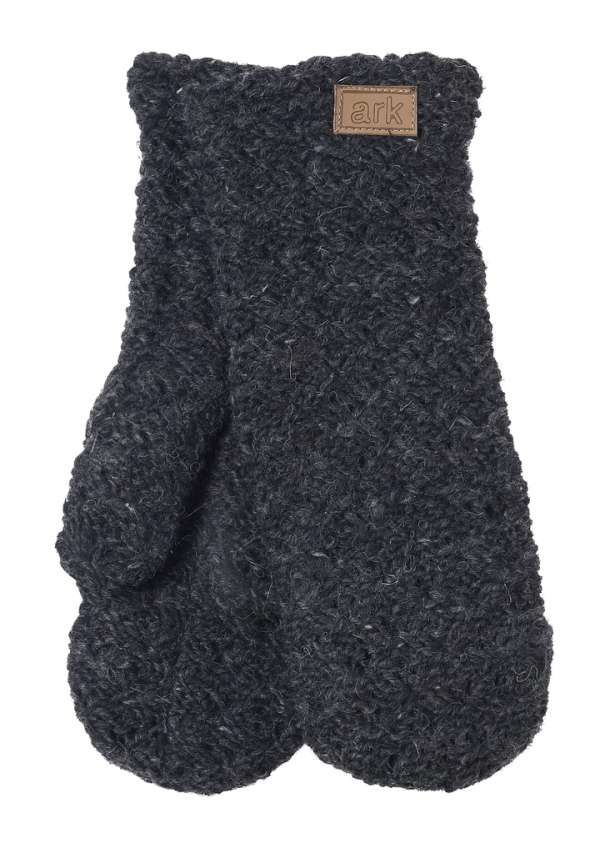 Soft wool mittens (Honeycomb) by Ark Imports in charcoal grey colour on Rosette Fair Trade