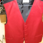 Apple Red solid vest and tie or bow