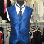 Royal blue vest and matching long tie