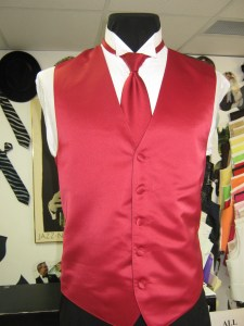 Red solid vest and tie