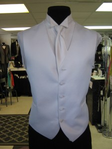 Groom Vest White with matching long tie