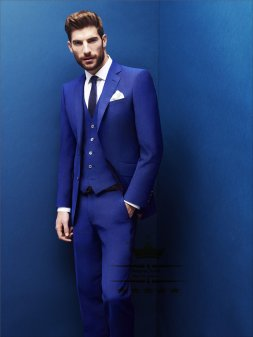 Royal blue tuxedo wedding