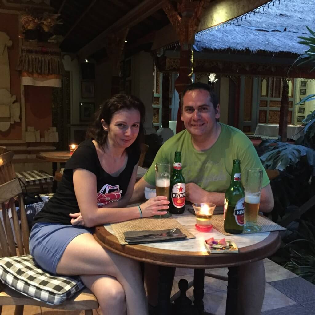 Dinner at Ibu Rai Bar, Ubud, Bali.