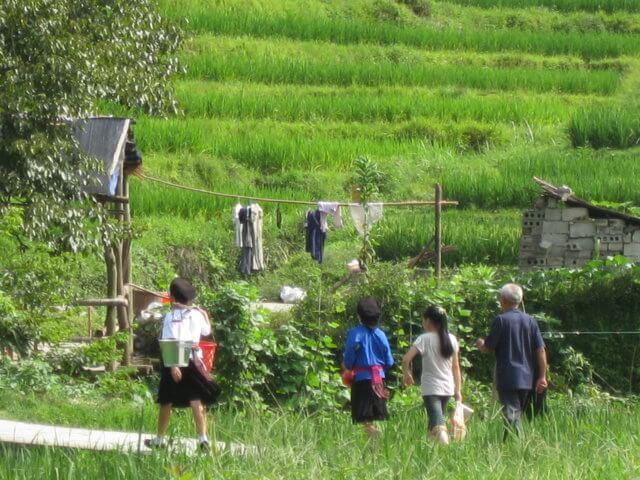 Longsheng, China, el pueblo de los arrozales de arroz.