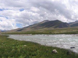 Atardecer en el lago Namtso, Tíbet