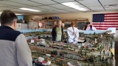 Our own N scale layout being viewed by the public