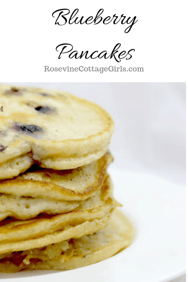 Blueberry pancakes, homemade blueberry pancakes, how to make blueberry pancakes, blueberry flapjacks by Rosevine Cottage Girls