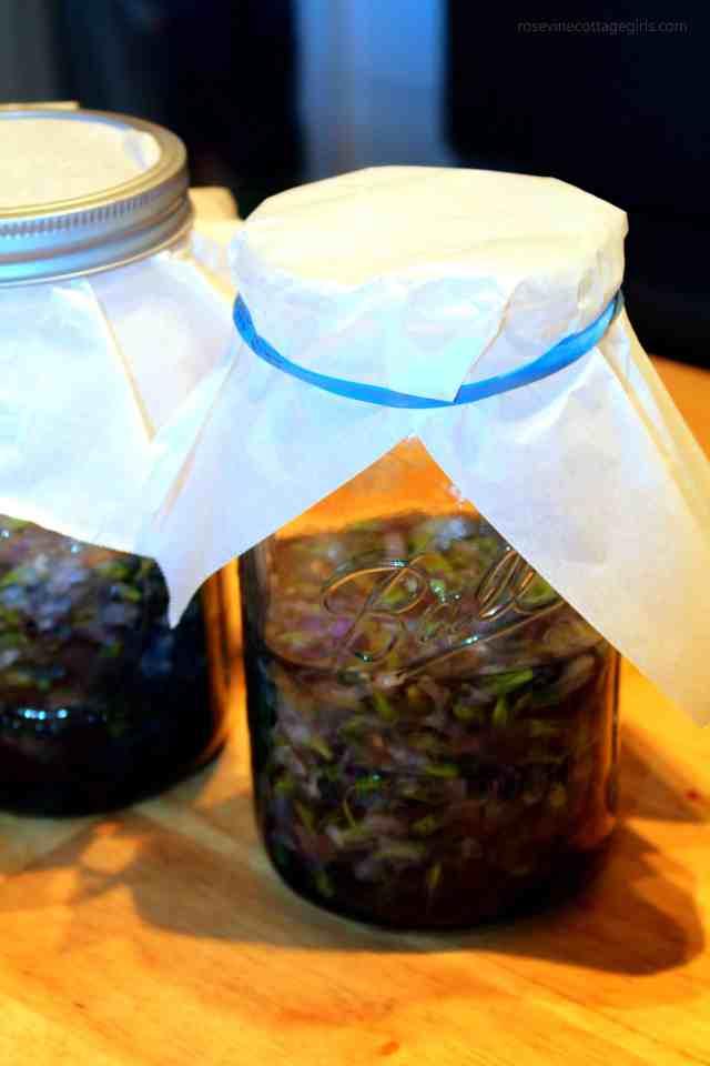 Homemade Wild Violet Syrup, making violet syrup, making violet syrup, violet syrup making