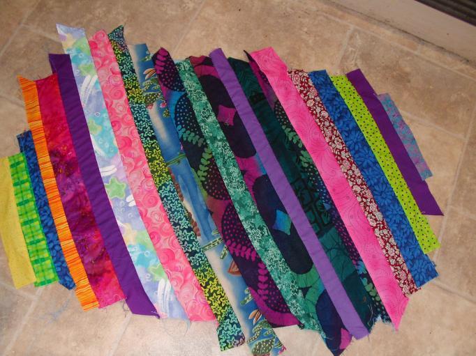 Mat-strips sewn down