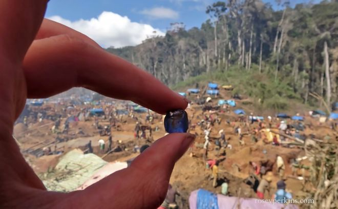 Sapphire at the rush site near Ambatondrazaka, Madagascar. October 2016.
