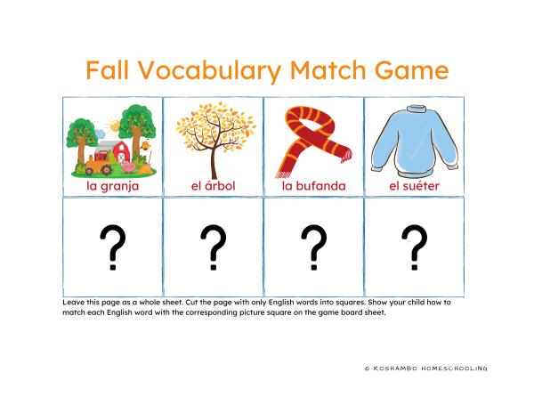 RoShamBo Homeschooling printable fall Spanish vocabulary theme pack