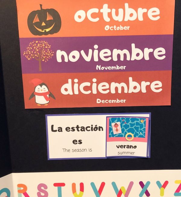 RoShamBo Homeschooling promo for a Circle Time Board in Spanish and English seasons