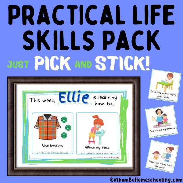 RoShamBo Homeschooling printable Montessori practical life skills pack pick & stick