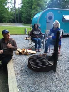Art, Patty and Ellalou making s'mores