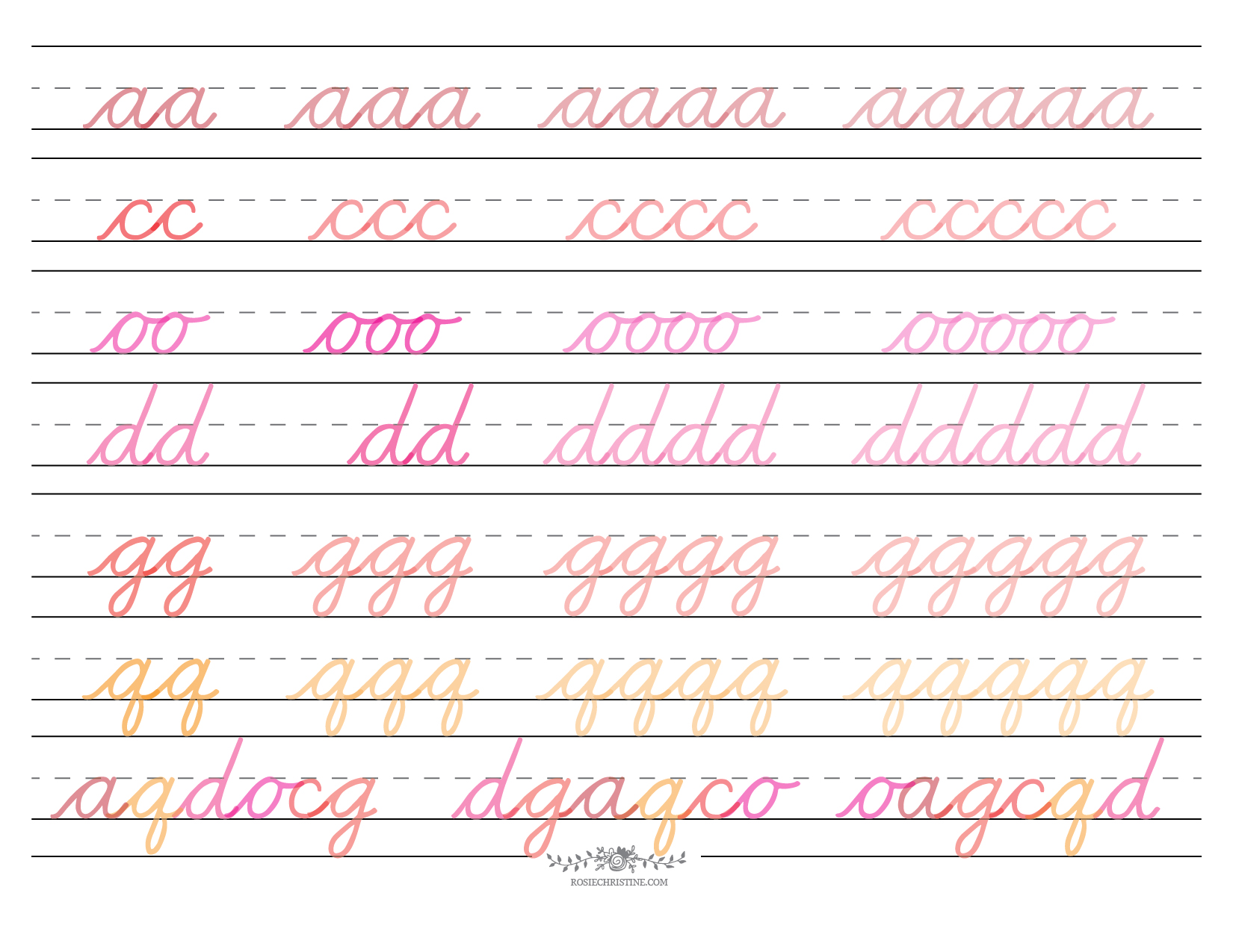 Cursive Lowercase Group 1 Worksheet 2 Rosie Christine