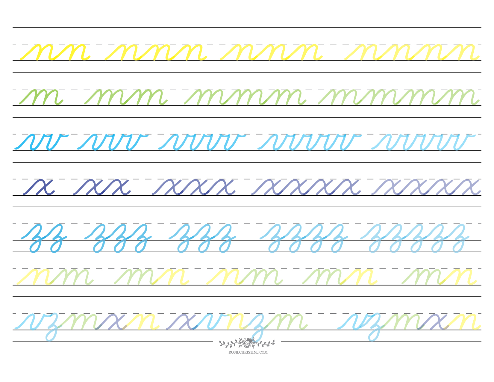 Cursive Lowercase Group 4 Worksheet 2 Rosie Christine