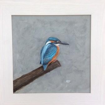 Kingfisher, acrylic, 40 x 40cm framed