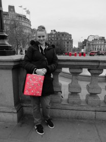 Myself with my Cath Kidson shopping and my red men in london made this effect happened by my mum using her Camera.