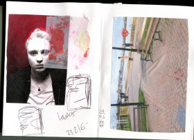 3. A photo of my figures photographed in Maldon and a photo of me photocopied with a red tracaing smudge mark
