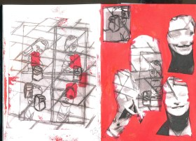 4. Traced imagery of myself and my figures layered painted with a red background.