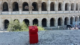 My red figure in front of the Colosseum