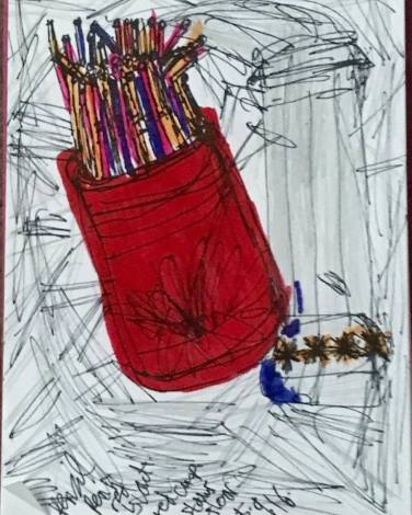 red cup and straws in pens red and black and pencil 5.9.16