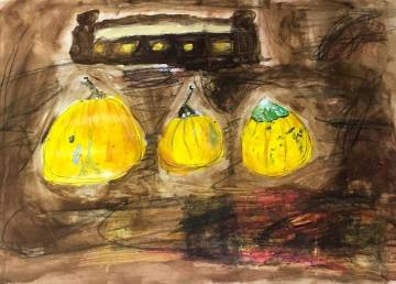Dads Yellow Courgettes take 3 15.9.16 ink paint and pen used