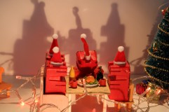 Close up of my Red Figures having there Christmas Dinner