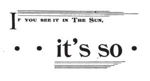 Sun Newspaper, New York ad 1892