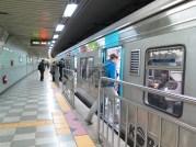 Boarding metro at Gwacheon