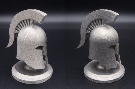 Additive manufactured components before and after wet blasting.