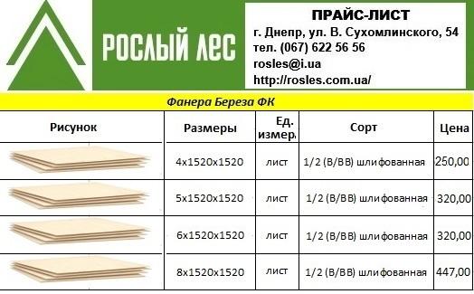 """Актуальный прайс """"Рослый Лес"""": фанера"""