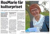 RosMarie får kulturpriset - Smålänningen 141121