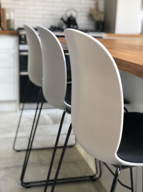 Flokk Chair Stool - Misty Grey / Antigo Soft Leather - Black