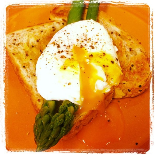 Homegrown asparagus & poached egg on toast