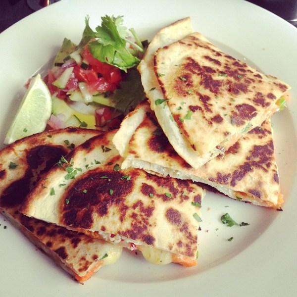 Mexican quesadilla w/ cheese, sweet potato & avocado salsa
