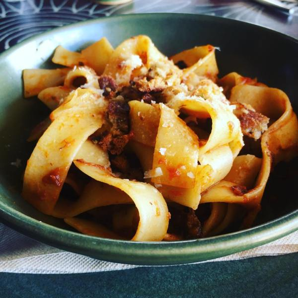 12 hour beef cheek Ragu, pappardelle pasta, pangritata $21.90