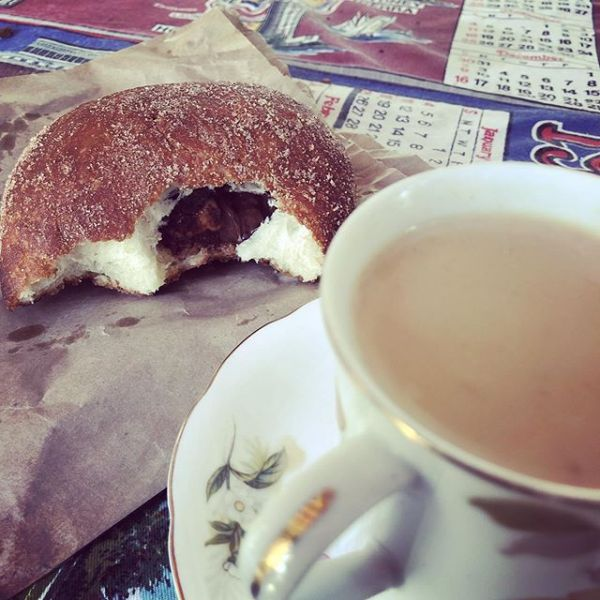 Byron Bay Organic Chocolate Doughnut with the best chai in town...
