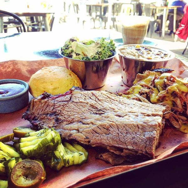 Two Meat Platter with broccoli salad and corn chili - barbecue brisket and pulled pork