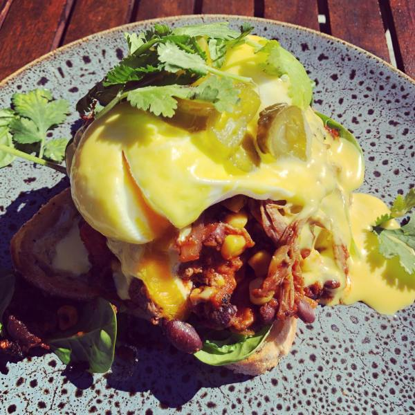 Mexican Pulled Beef Eggs Benedict with Jalapeños