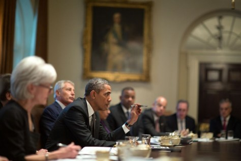 President Barack Obama holds a Cabinet meeting in the Cabinet Room of the White House, Jan. 14, 2014. (Official White House Photo by Pete Souza)