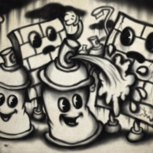 graffiti spray can characters wall 1920s 1930s rubber hose