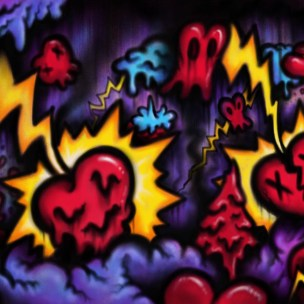 hearts lightning lowbrow pop art