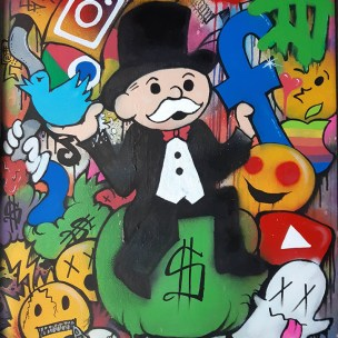 big tech censorship monopoly pop art satire