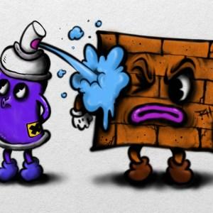 spray can cartoon graffiti character