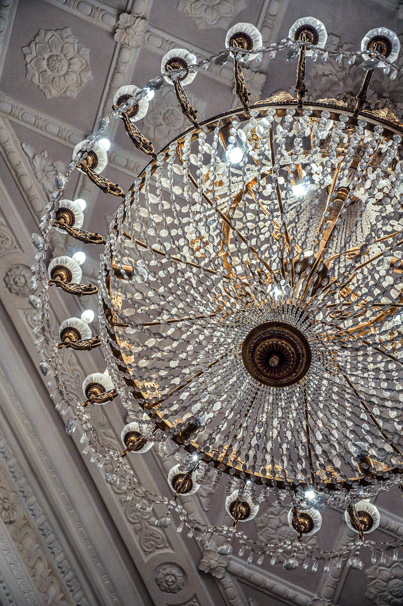 Close-up of a crystal chandelier - La Fenice Opera House in Venice, Italy - www.rossiwrites.com