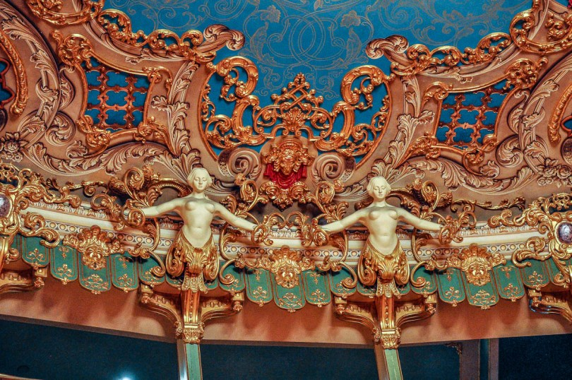 Lavish ornaments and sculptures above the boxes - La Fenice Opera House in Venice, Italy - www.rossiwrites.com