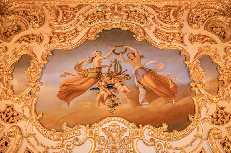 The ceiling fresco in the Imperial Box - La Fenice Opera House in Venice, Italy - www.rossiwrites.com