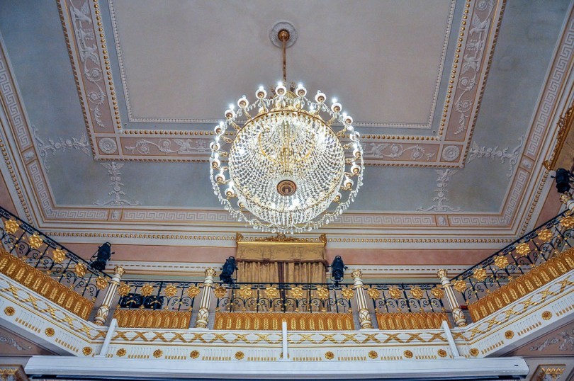 The ceiling of the ballroom - La Fenice Opera House in Venice, Italy - www.rossiwrites.com